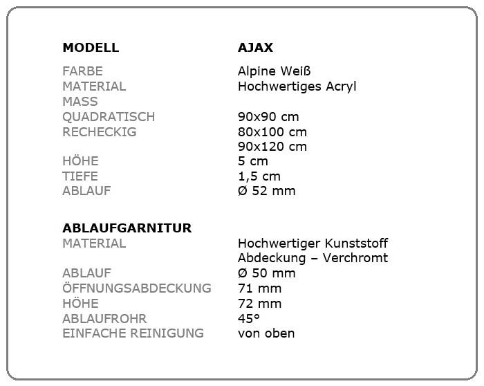 duschwanne rechteckig dusche duschtasse extra flach ablauf acryl ajax ap50. Black Bedroom Furniture Sets. Home Design Ideas