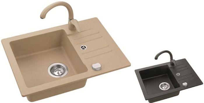 sp le sp lbecken skip10 granit k che 58x42 schwarz beige armatur swan oder low ebay. Black Bedroom Furniture Sets. Home Design Ideas